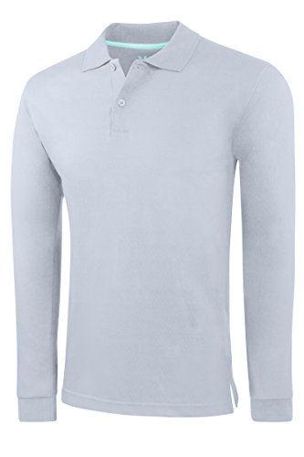 Men's Slim Fit Long Sleeve Jersey Polo Shirt – Heather Grey,X-Large
