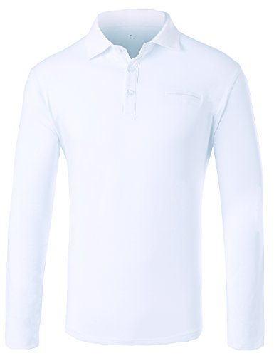 HSRKED Men's Long Sleeve Polo Shirts Slim Fit-White-L