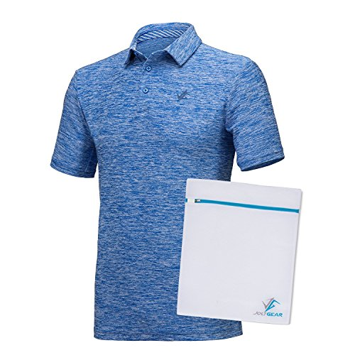 Jolt Gear Mens Dry Fit Golf Polo Shirt, Athletic Short-Sleeve Polo Golf Shirts, Cool Blue (Laundry Bag included)