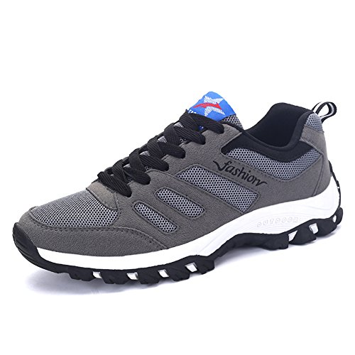 ROMENSI Men's Mesh Breathable Sports Runners Tennis Sneakers Lightweight Athletic Walking Trail Running Shoes (11 D(M) US, Gray)