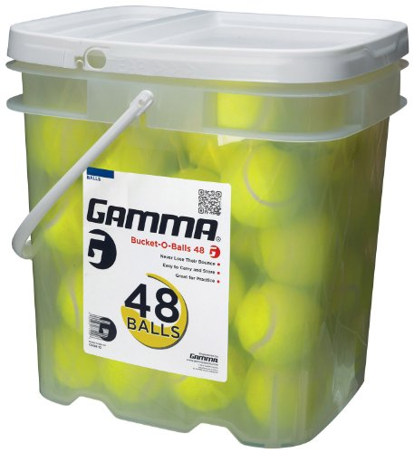 GAMMA Pressureless Tennis Ball Bucket| Case w/48 Practice Balls| Sturdy/Reusable/Portable Bucket to Replace Less Durable Tennis Mesh Bags| Ideal For All Court Types| Gamma Premium Tennis Accessories